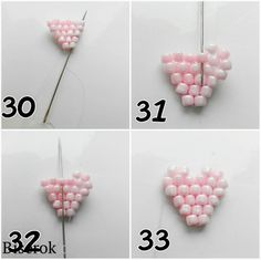 Step by step Pink Flower ~ Seed Bead Tutorials Beading Patterns Free, Seed Bead Patterns, Beaded Jewelry Patterns, Seed Bead Flowers, Beaded Flowers, Seed Bead Jewelry, Bead Jewellery, Beading Projects, Beading Tutorials