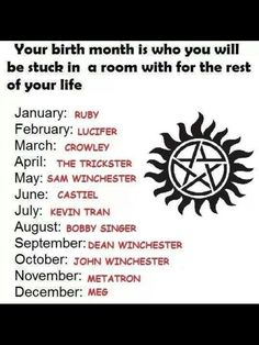 Supernatural Birthday Game I got Crowley Dang I wanted Castiel ; Although Crowley is funny xD Supernatural Birthday, Supernatural Fandom, Castiel, Supernatural Outfits, Sam Dean, Jeffrey Dean Morgan, Jensen Ackles, September Baby, Supernatural Impala