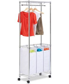 Honey Can Do Rolling Laundry Center, Urban Chrome - Cleaning & Organizing - for the home - Macy's