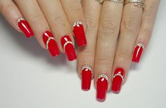 Татьяна Татьяна - Photo from album Red And Gold Nails, Gold Glitter Nails, Silver Nails, Bling Nails, Red Nails, Xmas Nails, Holiday Nails, Christmas Nails, Acrylic Nail Tips