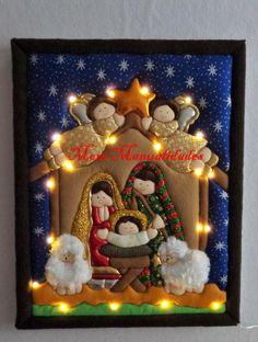 santa y reno Christmas Nativity Scene, Diy Christmas Tree, Christmas In July, Felt Christmas, Christmas Colors, Christmas Projects, Holiday Crafts, Christmas Decorations, Xmas