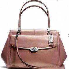 ❤️NWT COACH Handbag❤️ This beautiful, authentic Coach purse is sturdy and somewhat reminiscent of a doctors bag. •rose gold leather •inside zip •cell phone and multifunction pockets •zip-top closure •fabric lining •outside turnlock pocket •handles with 7 1/2 inch drop •longer strap with 14 inch drop for shoulder wear •16 1/4 inch length •9 inch height •6 inch width •comes with dust bag •Retails for $428! ❤️ 3/14/15 Spring Ready Host Pick  Coach Bags