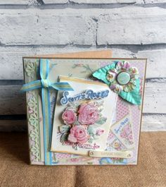 Card made by Maxinecrafts using Dovecraft Forget Me Not Papers and embellishments Scrapbook Paper, Scrapbooking, Craftwork Cards, Forget Me Not, Altered Books, Book Covers, Thank You Cards, Embellishments, Decorative Boxes