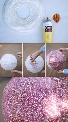 DIY Glitter hanging ball lantern! How have I not thought of this?!