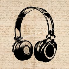 Vintage Print Headphones Wall Art Music Home Decor Antique Artwork with Aged Script Paper Style Background No.2016 B9 8x8 8x10 11x14