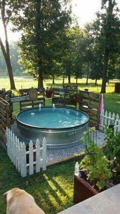 Pool, relaxing, garden oasis, soak, metal tub