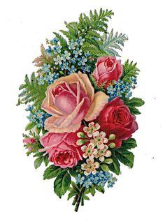 Glanzbilder - Victorian Die Cut - Victorian Scrap - Tube Victorienne - Glansbilleder - Plaatjes : Blumensträuße