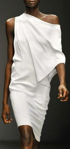 Todd Lyn white asymmetrical draped dress  #minimalist #fashion #style