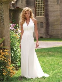 Halter Beaded Chiffon A-line Informal Simple Wedding Dress W1183  $205.19