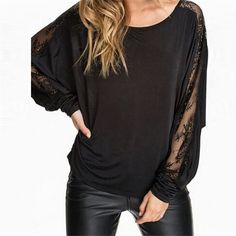 Women's Lace Stitching Batwing Sleeve T-shirt