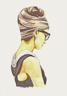Audrey Hepburn watercolour print - fashion illustration portrait. £10.00, via Etsy.