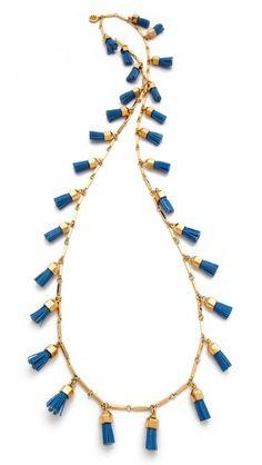 Tory Burch Leather Tassel Paillette Necklace