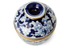 "6"" Cover Bowl Mini Floral, Blue/White"