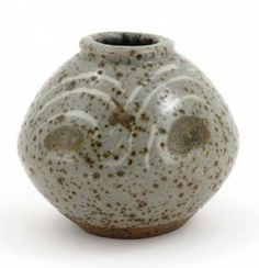Leach Pottery stoneware vase, ovoid form, glazed with mottled ash glaze decorated with painted chevron repeat impressed seal marks.