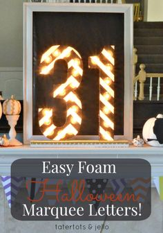 Halloween Foam Marquee Letters!! A quick and fun project using Floracraft [@makeitfuncrafts] -- Tatertots and Jello #DIY #Halloween