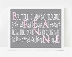 Art for Kids, Name Poem, Personalized Art, Breanne, 8x10