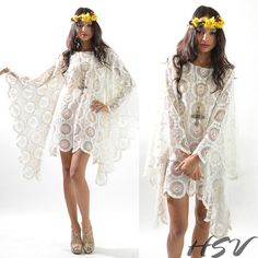 VTG 70s Sheer Crochet Lace Scallop Angel Slvs Hippie by HSVintage, $144.00