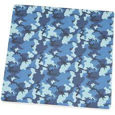 Navy Blue Camo Square Sandstone Coaster