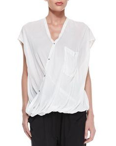 Helmut Lang Tie-Neck Front-Zip Jacket, Lush Voile Draped Blouse & Draped Jersey Tie-Waist Pants