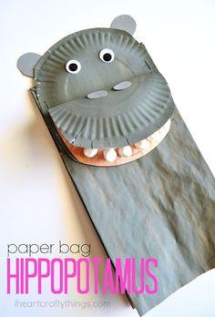 Bolsa de papel Craft Hippopotamus Niños | I corazón Crafty cosas
