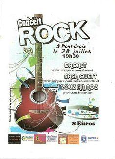 Affiche du concert de rock breton, rock celtique, punk-rock breton samedi 28 juillet 2012 à Pont-Croix dans le Finistère - Cap Sizun  Daonet - Back Ouest et Trouz an Noz