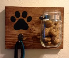 Dog Leash Hook and Treat Holder- Mounted Mason Jar- Customizable on Etsy, $17.00