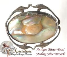 Antique Blister Pearl in Sterling Silver Brooch by DLSpecialties, $55.00