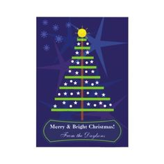 Cute abstract Christmas tree and stars flat card by zazzleproducts1