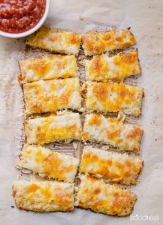 These healthy cauliflower pizza breadsticks.