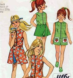 70s Kids Tennis Dress, Shorts, and Shirt sewing pattern McCalls 5549 Size Girls 10 Chest 28.5 1970s vintage sewing pattern. $5.00, via Etsy.