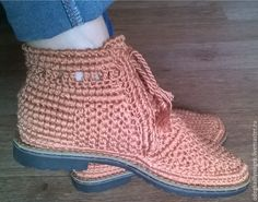 Купить Ботинки хлопковые - коричневый, обувь крючком, вязаная обувь, обувь ручной работы