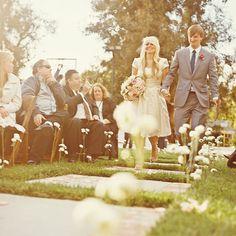 ring ceremony in backyard garden