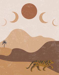 Moon Phase, Desert Print, Moon Poster, PRINTABLE, Desert Wall Art, Mid Century Modern Desert Print, Southwestern, Minimalist Art, Boho Decor