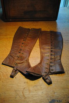 authentic womens brown leather spats