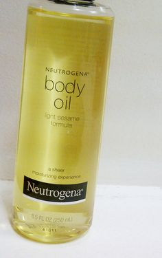 "Neutrogena Body Oil.  I once had to substitute for Johnson's Baby Oil while on vacation and it just wasn't the same ""("