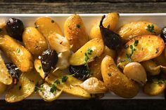 Roasted Fingerling Potatoes With Dried Figs and Thyme Recipe - NYT Cooking Thanksgiving Sides, Thanksgiving Recipes, Holiday Recipes, Dinner Recipes, Potato Dishes, Potato Recipes, Side Dish Recipes, Side Dishes, Roasted Fingerling Potatoes