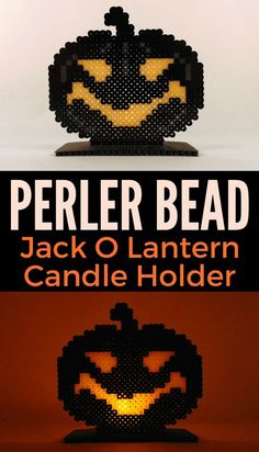 Looking for a fun Perler Bead Halloween project to make with your kids? Check out this easy to make Perler Bead Jack O Lantern candle holder. Melty Bead Patterns, Bead Embroidery Patterns, Hama Beads Patterns, Beading Patterns, Art Patterns, Mosaic Patterns, Bracelet Patterns, Perler Bead Templates, Diy Perler Beads