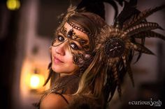 $275 - Brown Tribal Feather Headdress Custom Order by Wickedheart