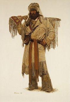 """Dan the Mountain Man Artist:James Bama Native American Art, American History, American Women, American Indians, Rocky Mountains, Mountain Man Clothing, Mountain Man Rendezvous, Mountain Art, Le Castor"