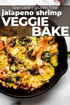 This veggie bake with jalapeno shrimp is low carb, grain free, and an easy recipe you can make in under an hour! Seasonal vegetables, lean protein, herbs, and spices, all cooked in a casserole dish or cast iron skillet. Gluten Free Recipes For Breakfast, Homemade Breakfast, Vegetarian Recipes, Amazing Recipes, Easy Recipes, Dinner Recipes, Healthy Recipes, Veggie Bake, Meals Without Meat