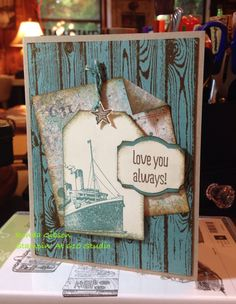 Stampin' Up 2014 Stamps used: Traveler, Hardwood and Something To Say. Inks used: Soft Suede and Lost Lagoon. Paper used: Lost Lagoon and Crumb Cake CS, Epic Day DSP (retired) Nautical Cards, Boy Cards, Travel Cards, Travel Set, Masculine Cards, Paper Cards, Soft Suede, Stampin Up Cards, Card Templates