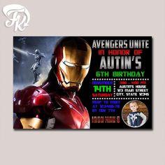 Iron Man 3 Design Birthday Party Card Digital Invitation $9.19 USD