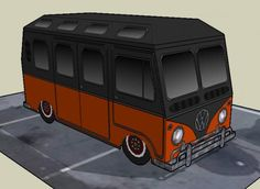 Volkswagen Kombi Type II Lowride Paper Model - by Papermau Download Now! - == - More one Volkswagen Type II paper model, this time a Lowride version with detached bumps. The model occupies only one sheet and easy to download directly from Google Docs. Enjoy!