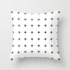 Black Cross Plus on White Throw Pillow
