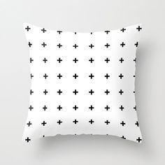 Black Cross Plus on White Throw Pillow Cover By Pencil Me In on Etsy, $35.00 (Swiss plus pillow // Scandanvian // Nordic Design)
