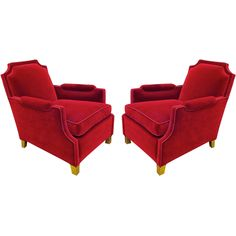 1stdibs - Maison Jansen 1940s Pair of Red Velvet And Gold Leaf Leg Chairs explore items from 1,700  global dealers at 1stdibs.com
