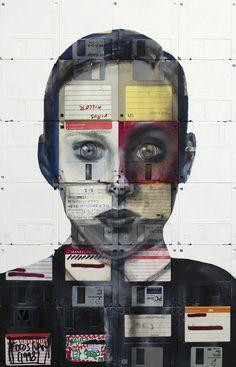 Mixed paint + Computer Disks Art -Nick Gentry_11