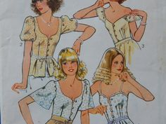 Vintage Misses' Set of Tops Style Pattern 2247 Size 16/ blouse camisole low neckline gathered sleeves button front fitted tie waist Uncut