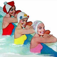 Love the old swim caps ! Nice pose to copy on your retro… Vintage Swim, Vintage Ads, Vintage Frames, Vintage Stuff, Vive Le Sport, Images Vintage, Swim Caps, Bathing Beauties, Retro Art