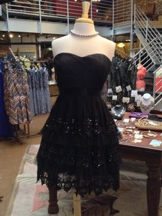 Black Dress with Tiered Lace